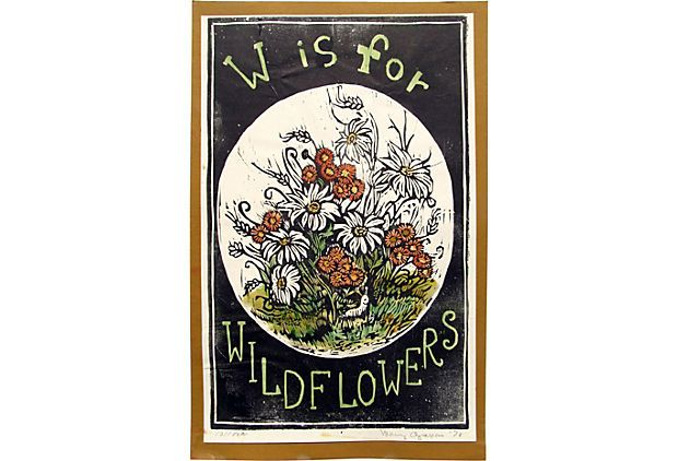 W Is For Wildflowers Hand Colored Woodblock Print By Mary Azarian On London Kings Lane Vintage Market Finds Ruby George