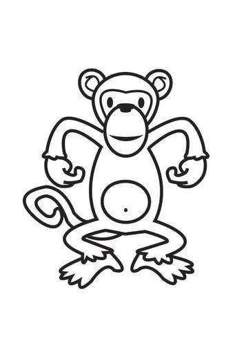 Kleurplaten Aapen.Kleurplaat Aap Preschool Animal Coloring Pages Monkey Pictures