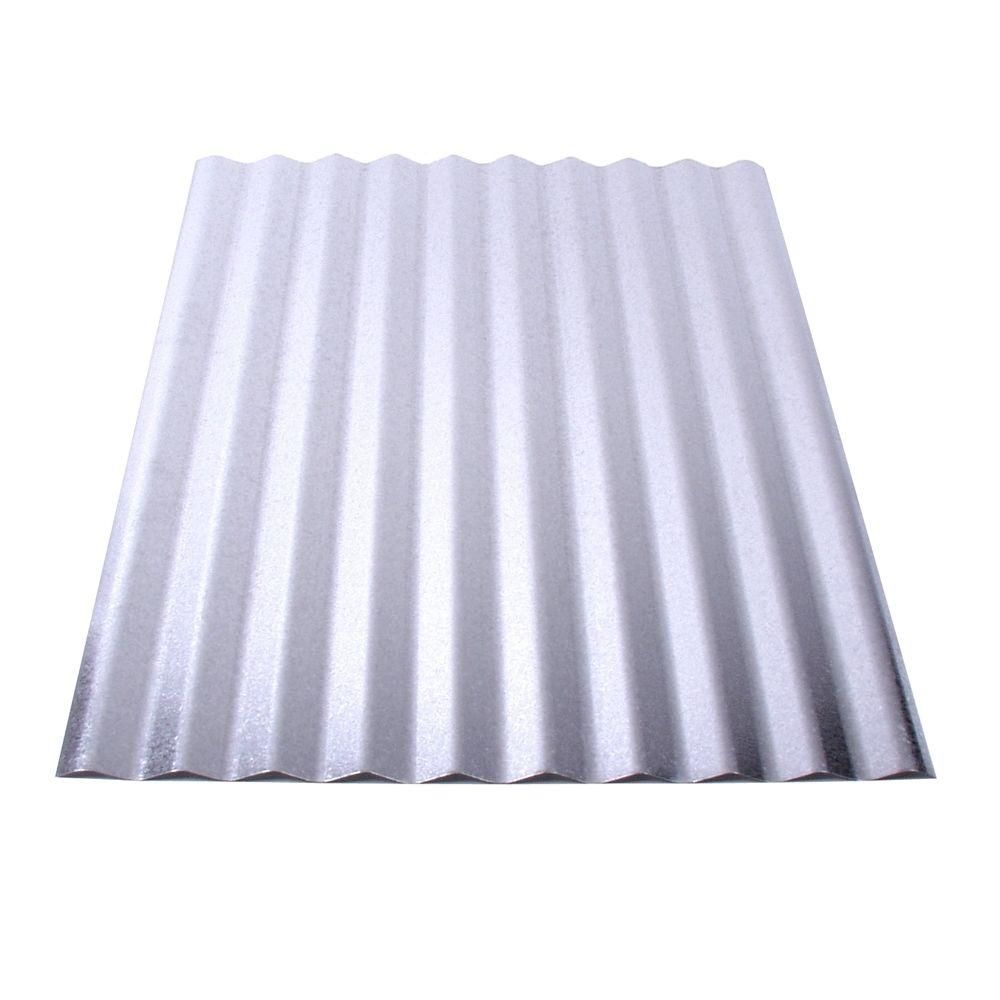 Fabral 10 Ft Galvanized Steel Corrugated Roof Panel 4736052000 The Home Depot Corrugated Metal Roof Metal Roof Panels Corrugated Metal Roof Panels