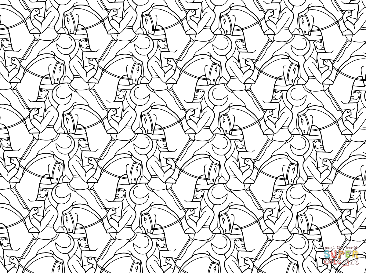 Horseman Tessellation by M.C. Escher coloring page | SuperColoring ...