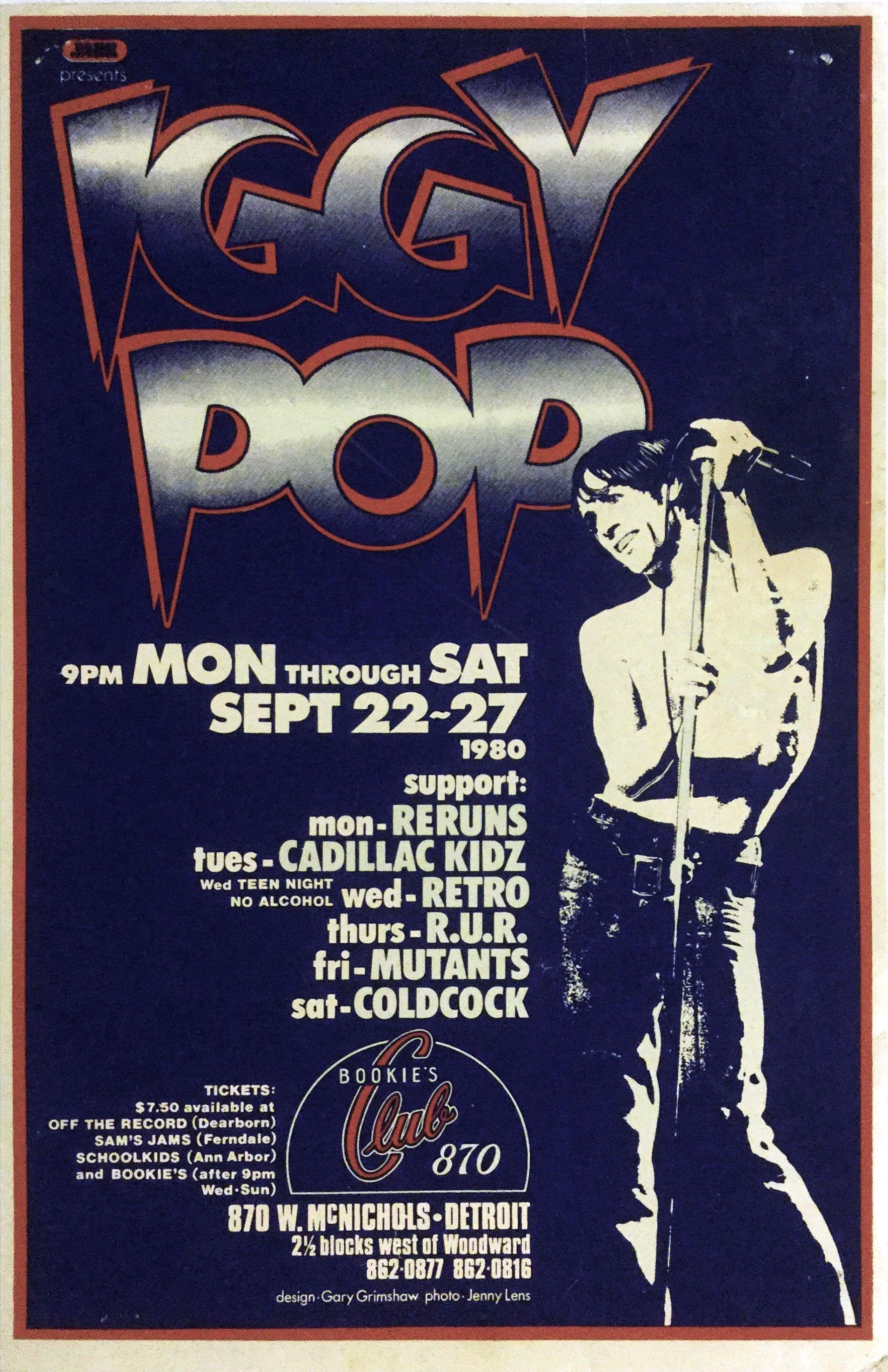 Iggy Pop 1980 First Printing Bookie S Detroit Gary Grimshaw