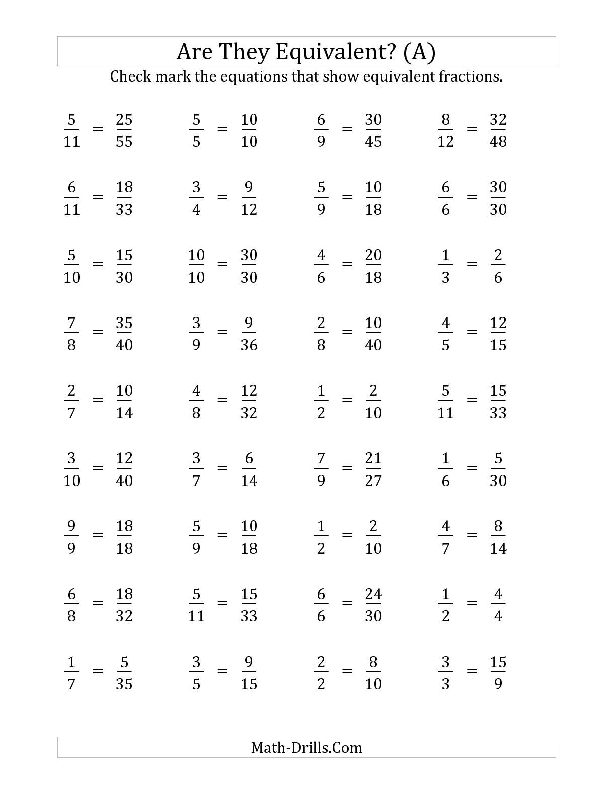 worksheet Math Fraction Worksheet the are these fractions equivalent multiplier range 2 to 5 a worksheetsmath