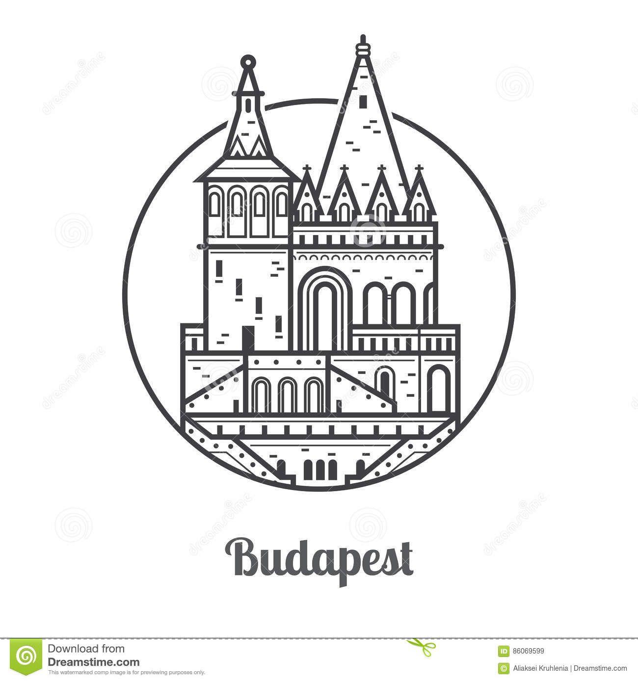 Vector Illustration Instagram: Travel Budapest Icon Stock Vector