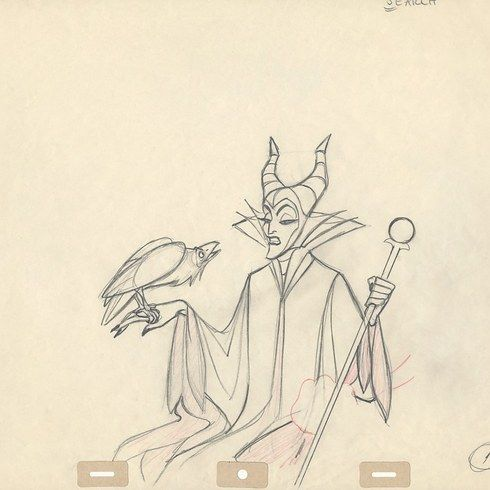 "Cleaned up animation drawing of Maleficent, created by Marc Davis, and the scene from the finished film. | A Wonderful Look At The Behind-The-Scenes Art Of ""Sleeping Beauty"""