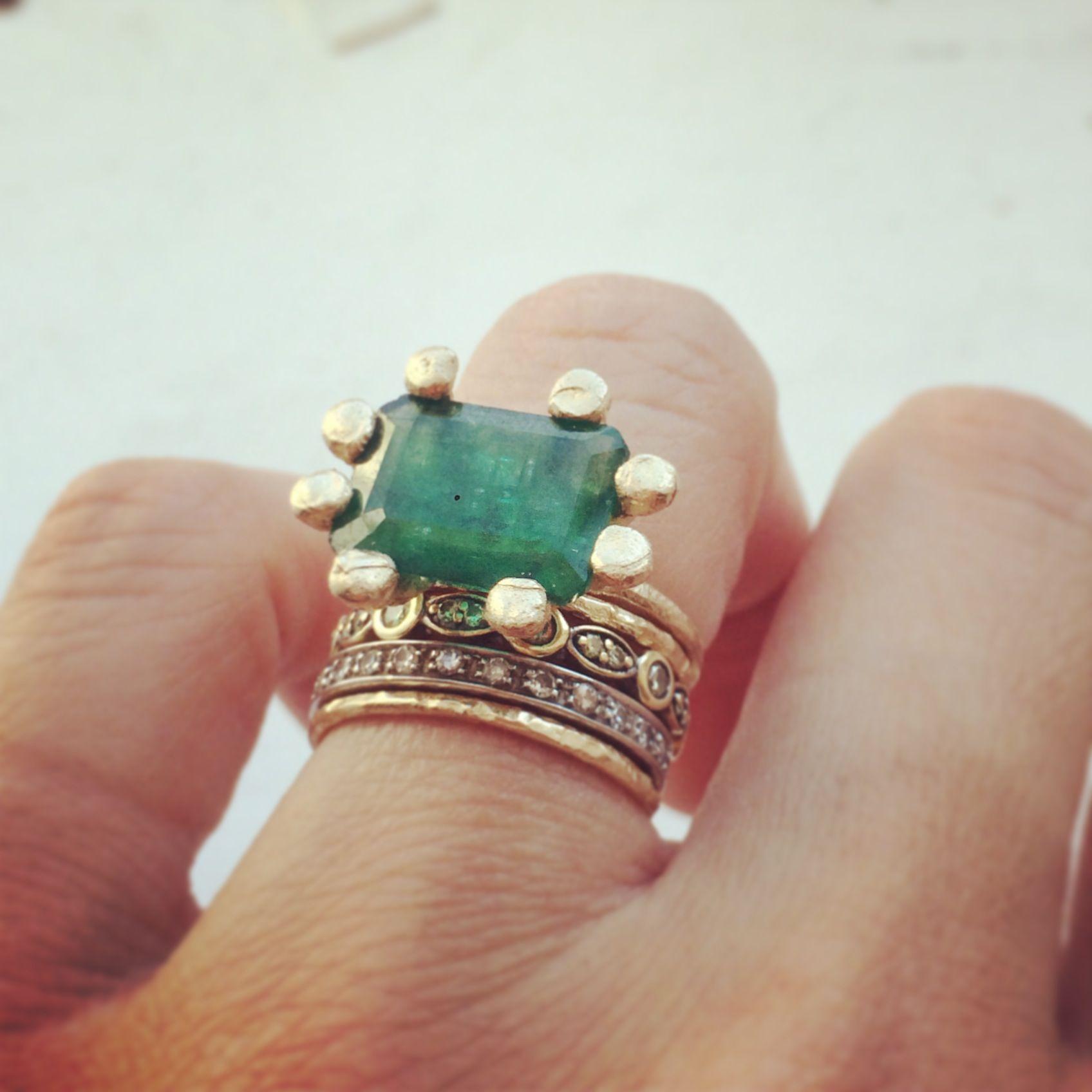 Photo of custom JPJ ring with customer's emerald   www.janepopejewel…