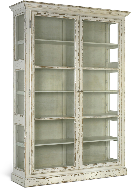 Great Large Rustic Glass Cabinet In Black Or Cream (Sideboards U0026 Display Cabinet)  | Image