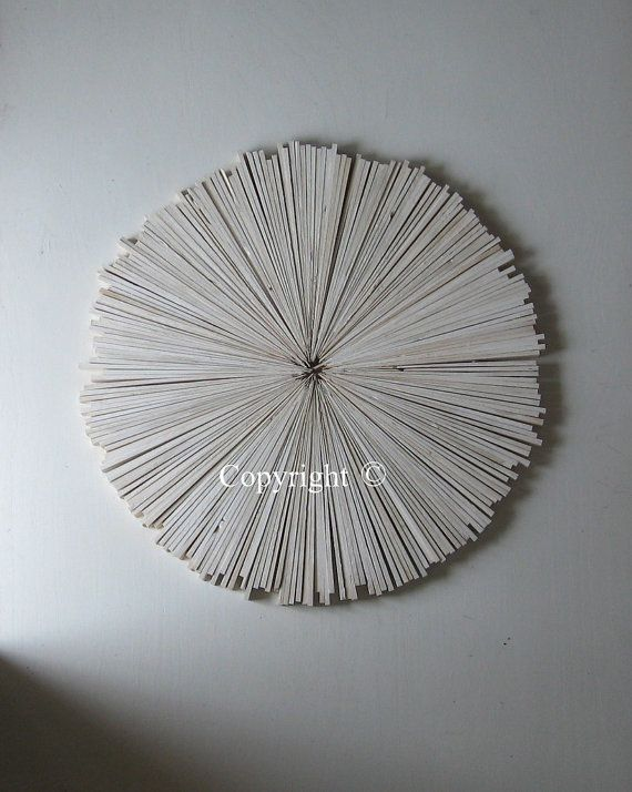 White Rustic Wood Wall Art Abstract, Round White Wood Wall Decor
