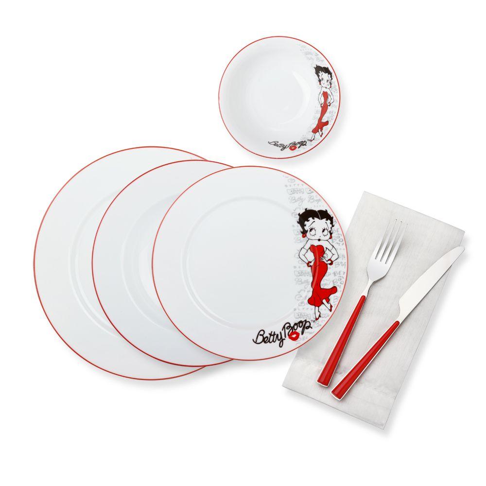 Betty Boop Yemek Takimi Dinnerware Set 24 Pieces 6 Pieces Dinner