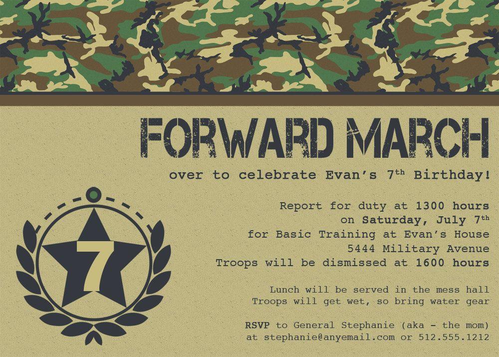 Forward March Military Birthday Party. $14.00, via Etsy. | Camp ...