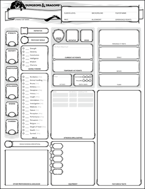 how to make a d and d character sheet