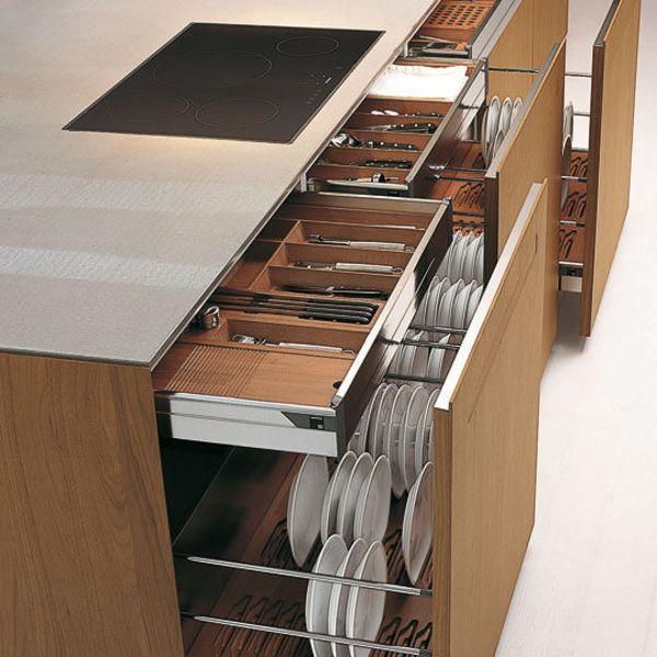 Rangement cuisine les 40 meubles de cuisine pleins d 39 astuces kitchens - Rangement tiroirs cuisine ...