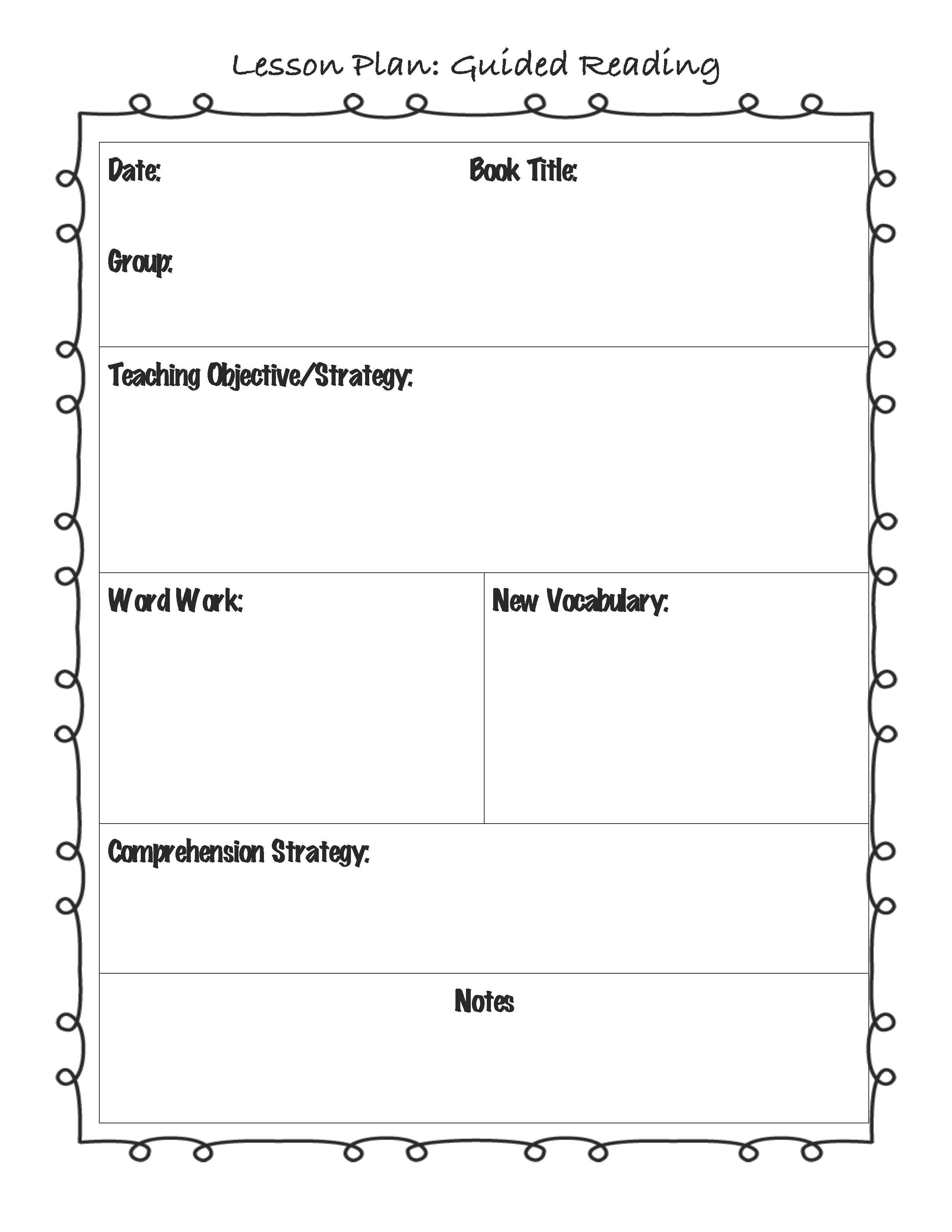 Guided Reading Lesson Plan Template For The Classroom - Free kindergarten lesson plan template