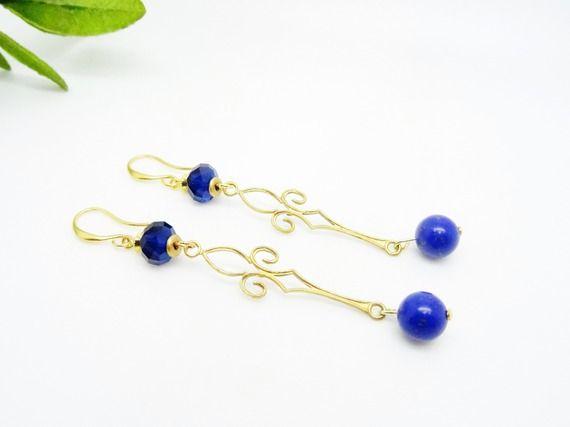 Boucles d'oreilles Pendentif vintage en Laiton doré - Perles Lapis Lazuli - Cristal Swarovski bleu nuit