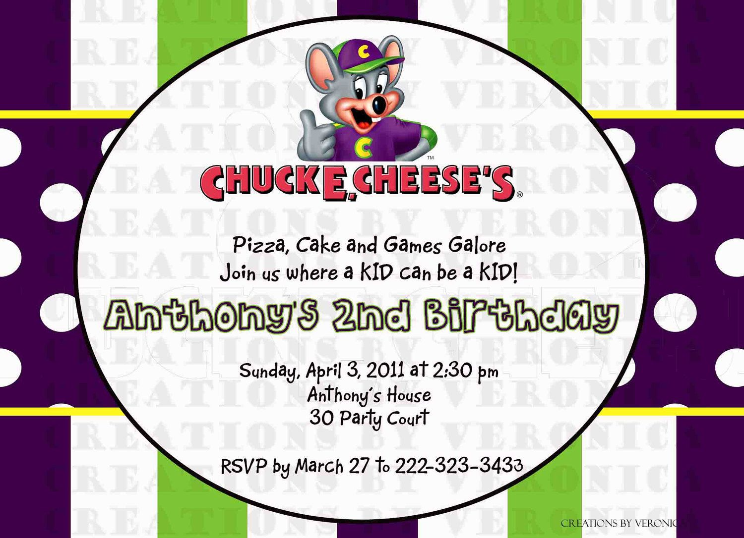 Cool FREE Template Chuck E Cheese Birthday Party Invitations