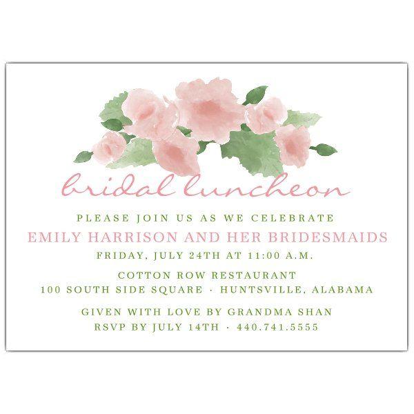 watercolor blush flowers bridal luncheon invitations lauren in
