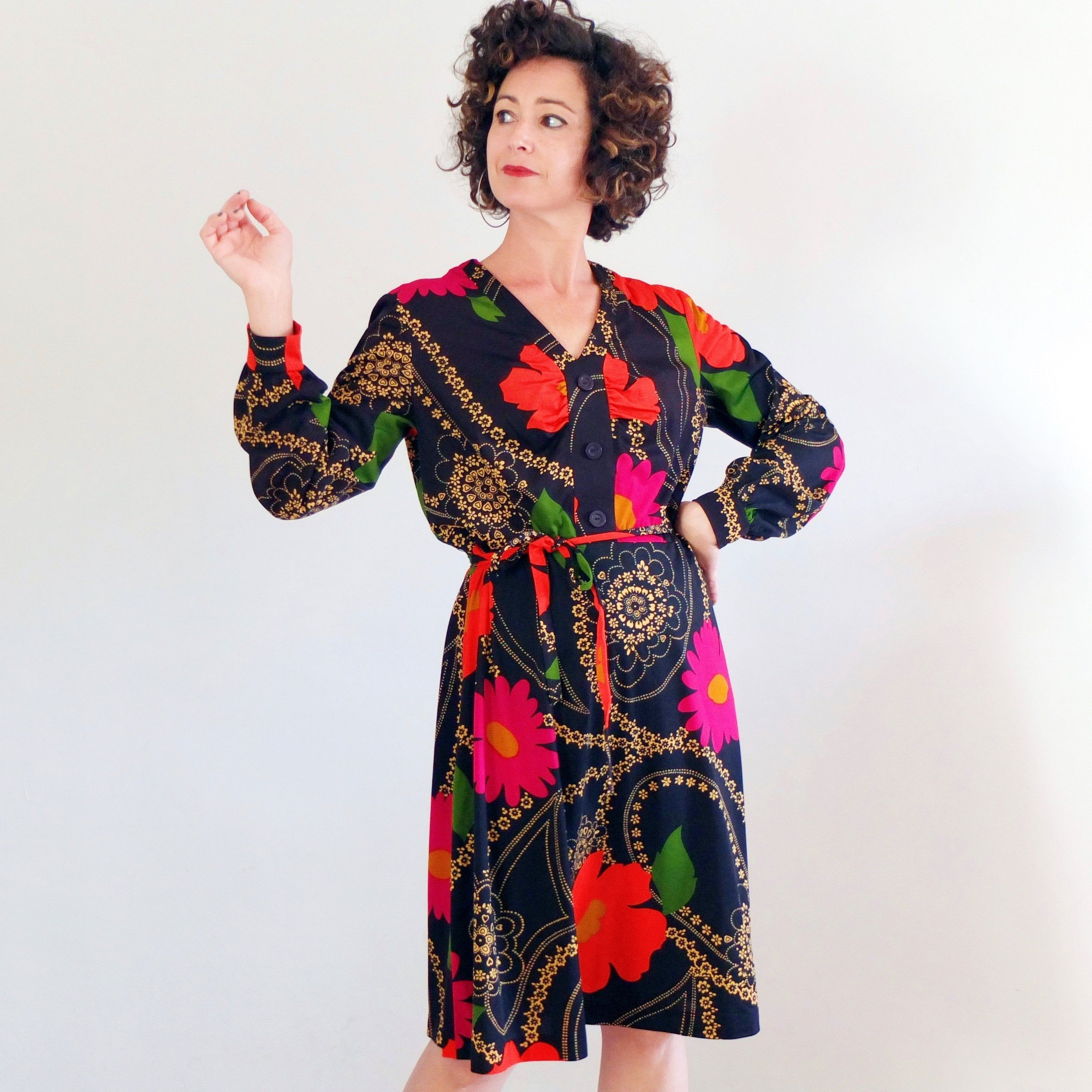 sheer long sleeve short dress boho 1970s dress vintage black 70s floral dress