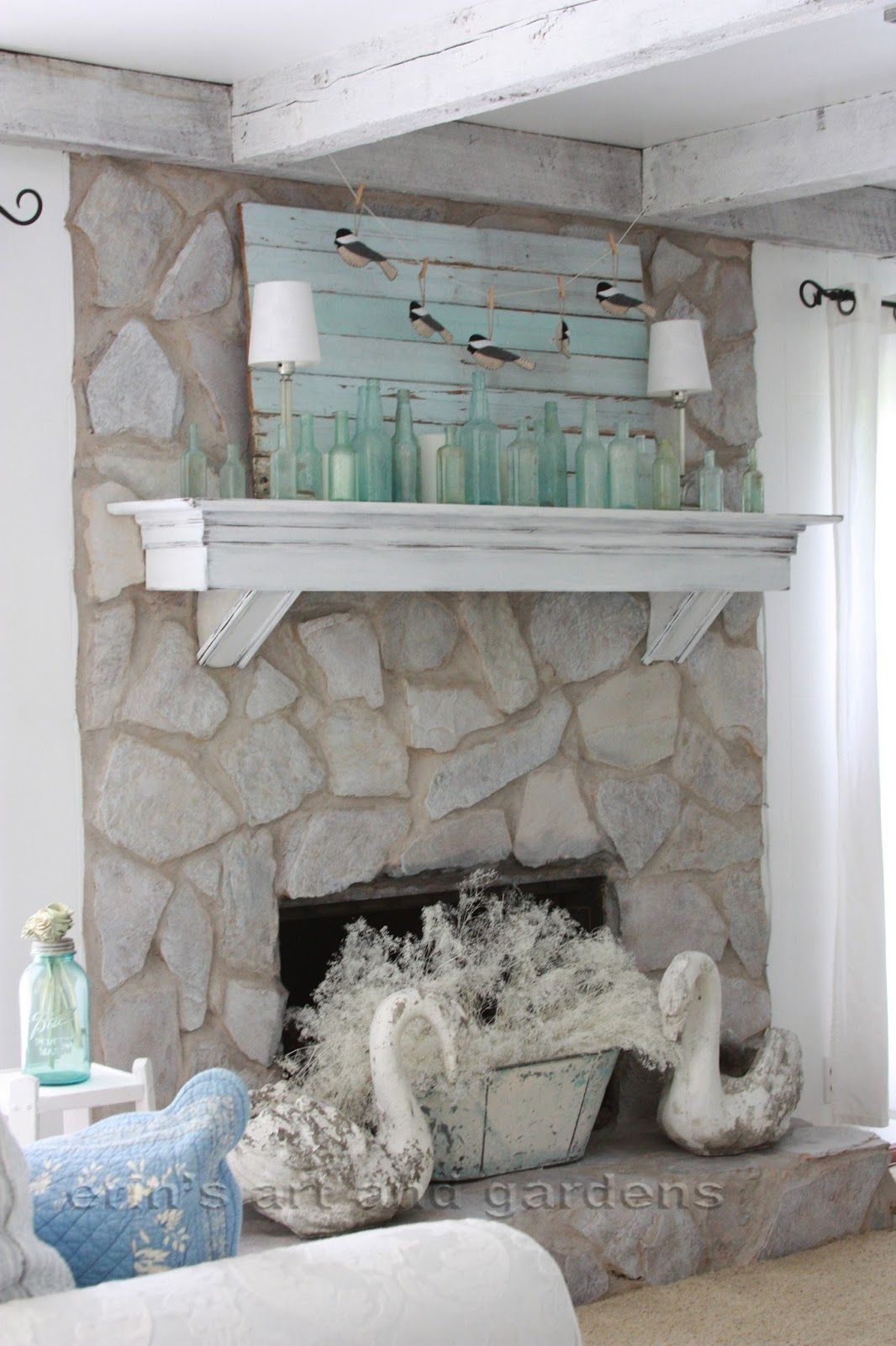 erins art and gardens chalk painted 1970s stone fireplace