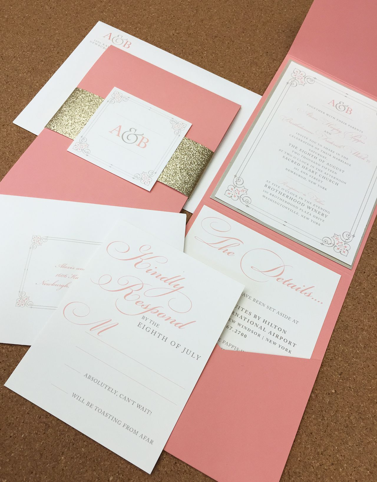 Coral and Gold Pocket Envelope Wedding Invite | Graphic Nature ...