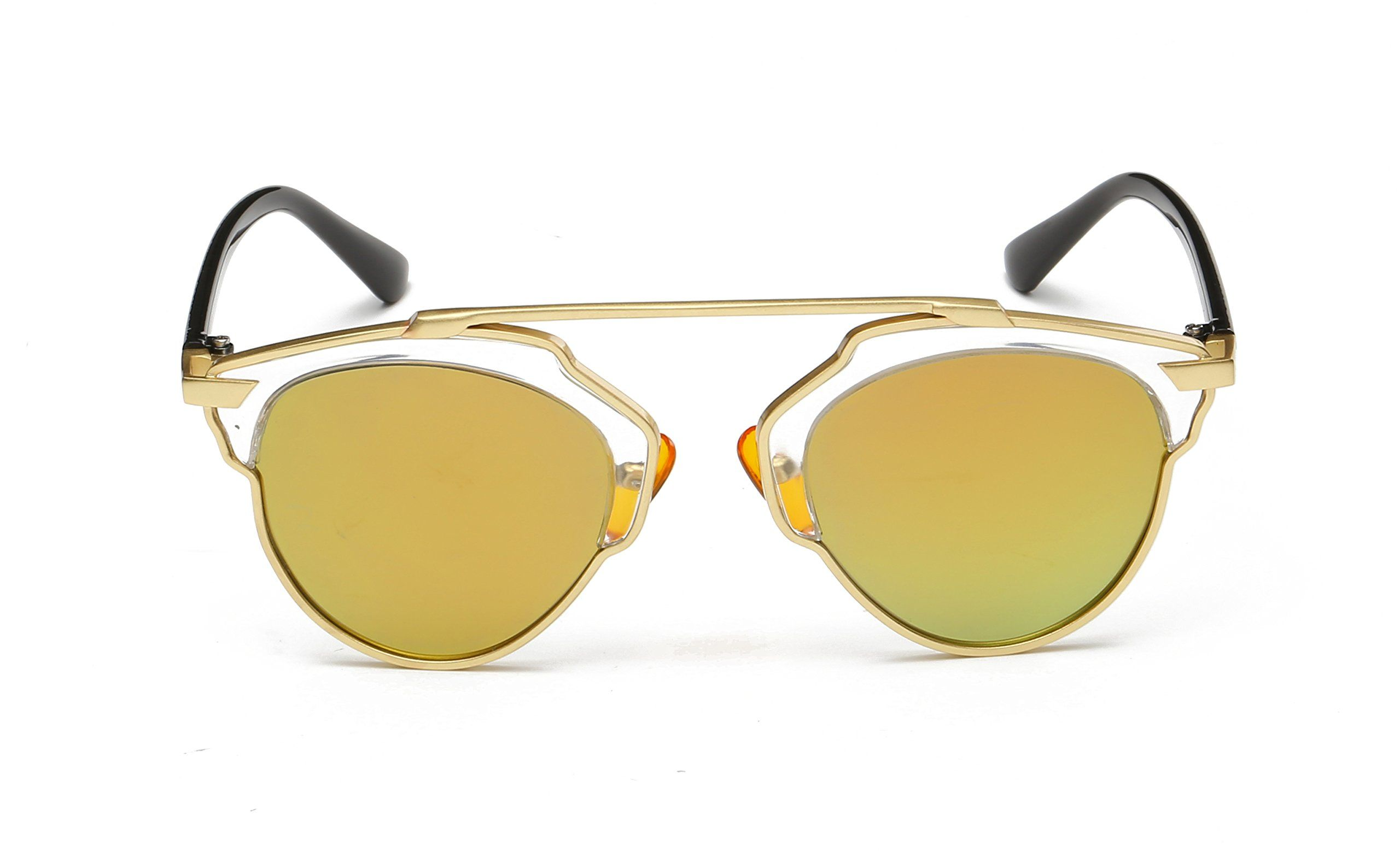 8c86abca931 GANT New Fashion Cateye Polarized Sunglasses For Women Classic Style (Gold  Lucency Gold Lens)