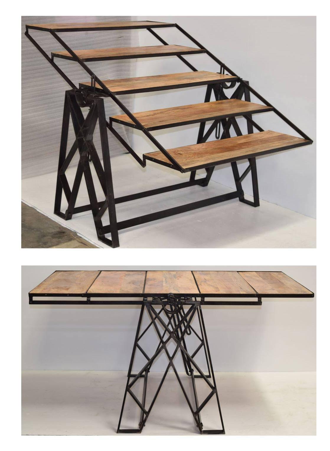 table transformable meuble fer et bois