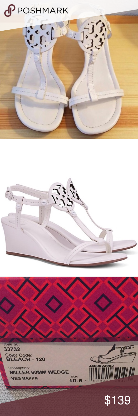 be7179f40253 NWT Tory Burch Miller wedge Classic Tory Burch Miller color bleach. Sz  10.5. New in box with shoe bag. Tory Burch Shoes Sandals
