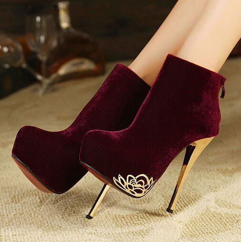 Classy Wine Red High Heel Winter Boots