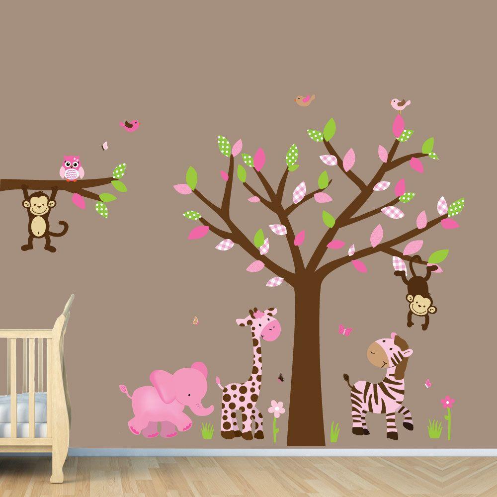 Girl Baby Wall Decal, Jungle Wall Decals, Monkey, Giraffe ...