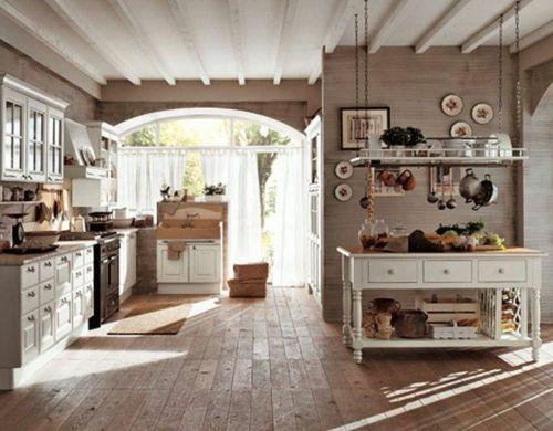 Küche Im Landhausstil Gestalten Holz Bodenbelag | Küchen | Pinterest