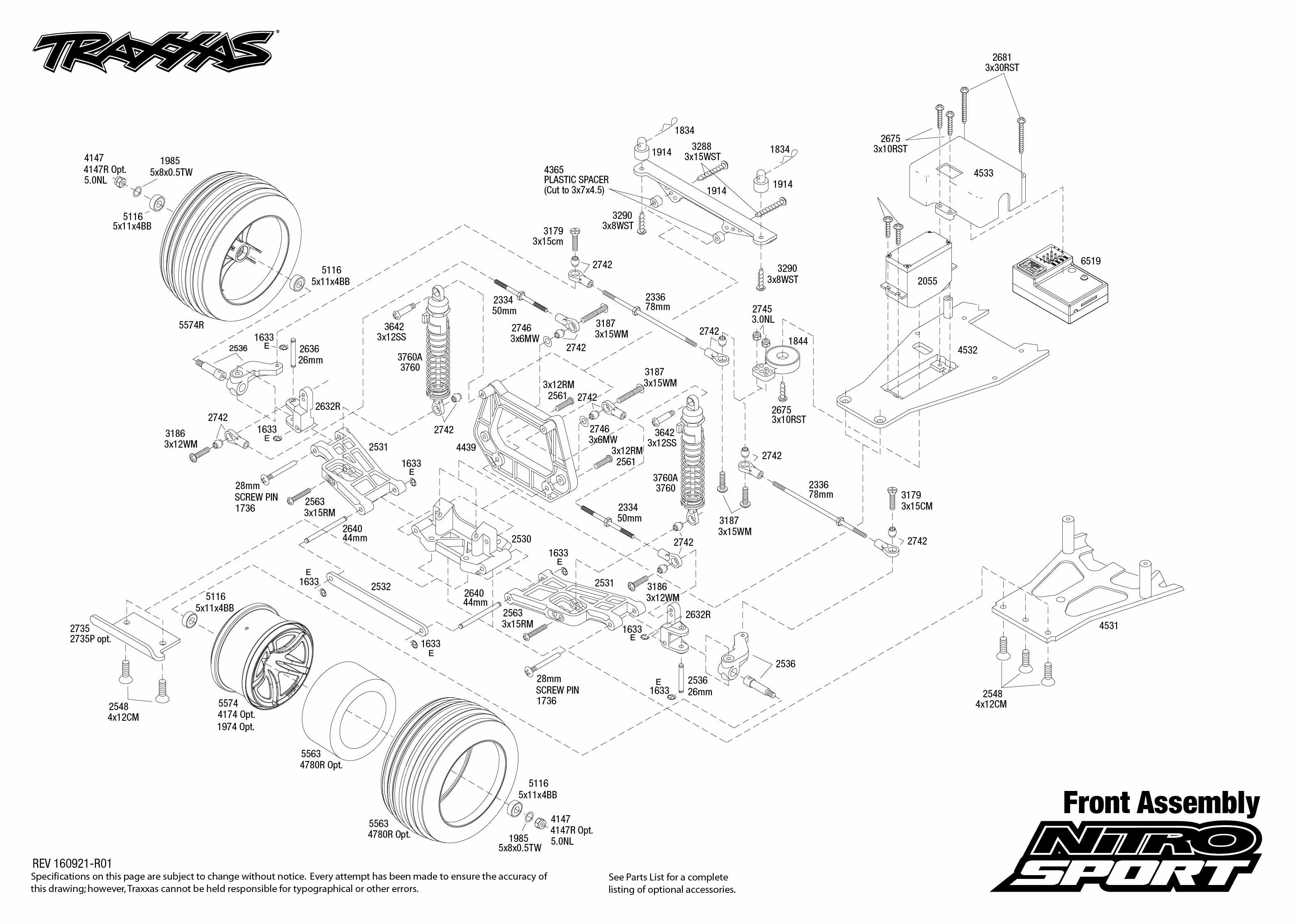 nitro sport 45104 1 front assembly exploded view traxxas tech rh pinterest com Traxxas Nitro RC traxxas nitro sport parts list