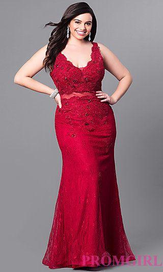 Long Lace Plus Size V-Neck Prom Dress at PromGirl.com | Dresses ...