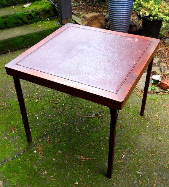 Brilliant Wood Folding Card Table Vintage 1930s Mahogany Leather Sirgunnisonsfarm