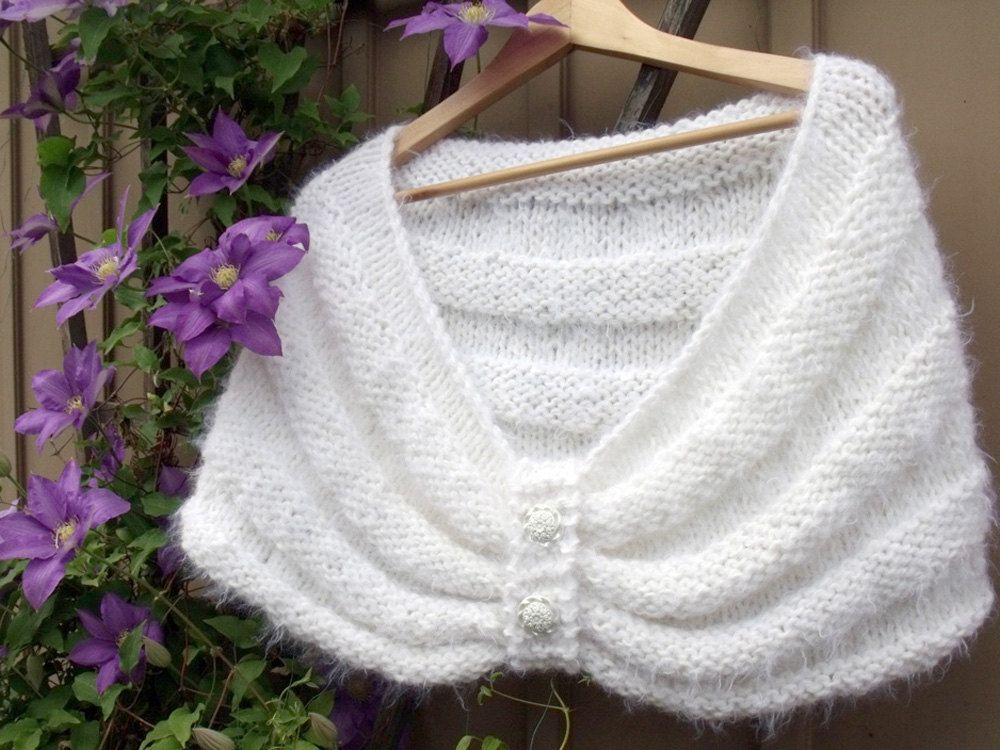 Knit scarf stole cape shawl wedding bridal white downy fuzzy ...
