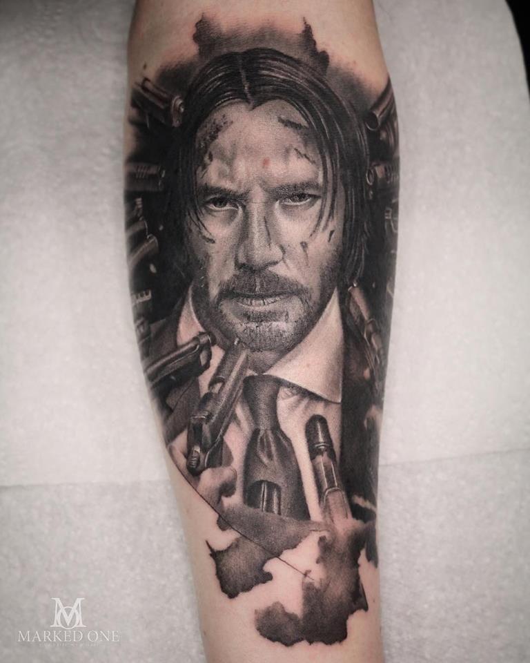 Black And Grey Tattoo Portrait Tattoo Of Character John