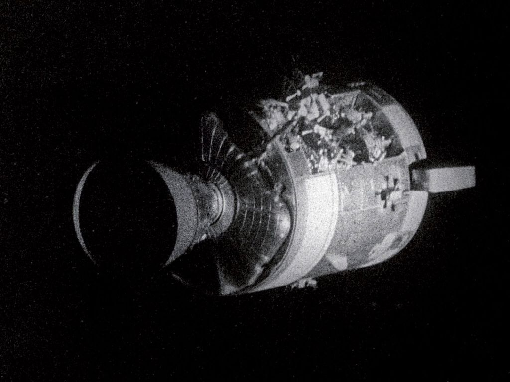 Apollo 13 - damaged CSM. This is an actual photo taken ...