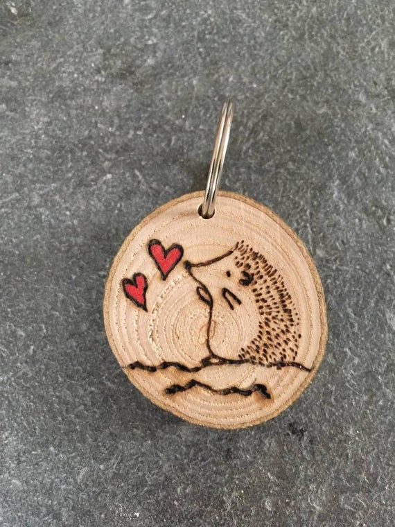 Photo of Hedgehog Keyring, Wooden Keyring, Valentines Gift, Gift for Her, Gift for Him, Unique Gift, Wood, Rustic, Birthday Gift, Thank you Gift