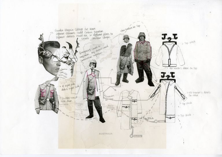 Fashion Sketchbook - fashion design process with research  sketches - garment design development; fashion portfolio // Shan Jiang