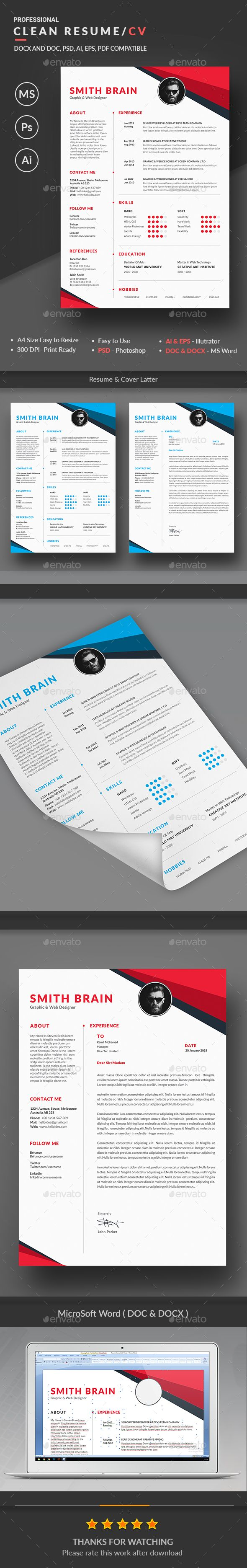 Resume Template PSD Vector EPS AI DOCX