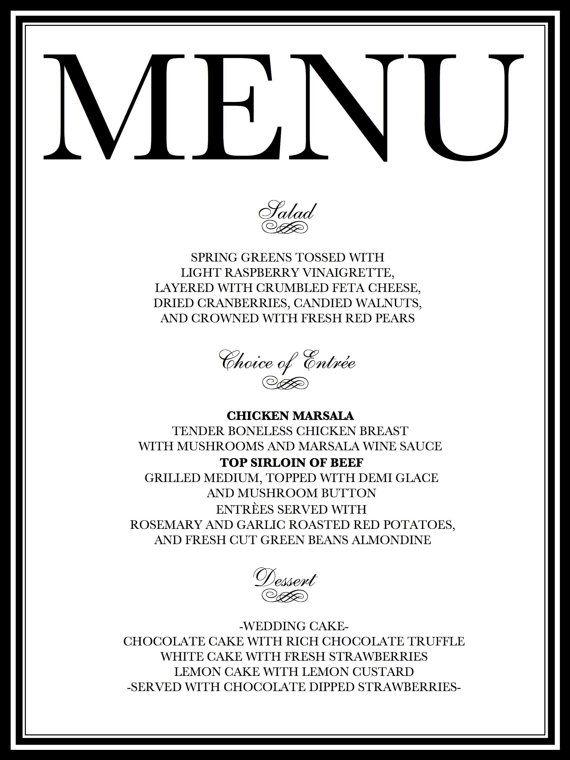 Vintage style Printable DIY Wedding breakfast Suite menu table - course completion certificate format