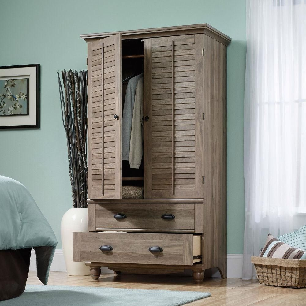 Wardrobe Cabinet Bedroom Storage or TV Armoire in Medium Brown Oak
