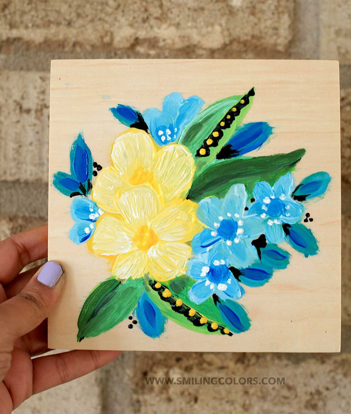 Painting Acrylic Flowers On A Wood Canvas Smitha Katti Acrylic Painting Flowers Easy Flower Painting Flower Painting Canvas