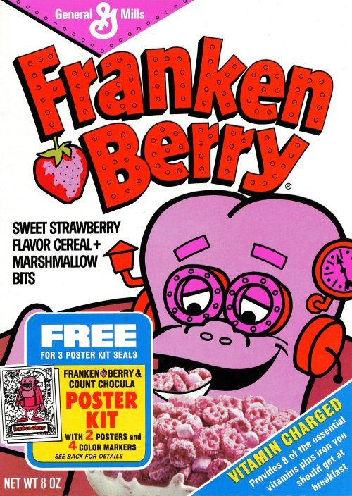 Monstrously Good Strawberry Flavor  Franken Berry in 1971 … lookin' GO-OD!