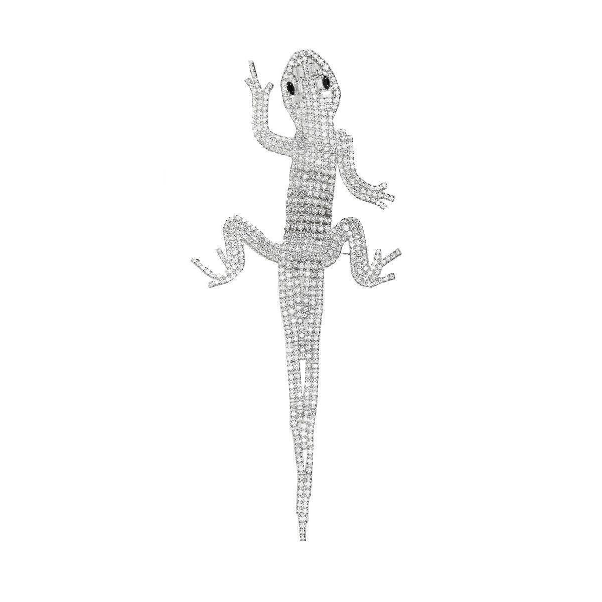 Large articulated lizard brooch rhinestone salamander silver metal