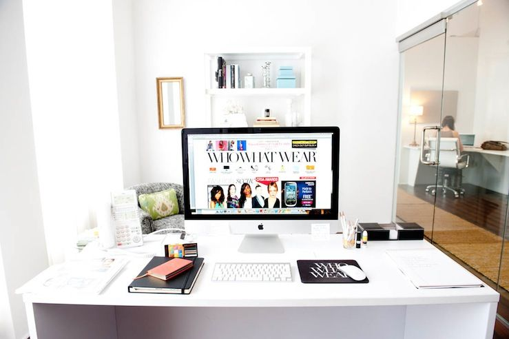 chic office space. Chic Office Space, West Elm Parsons Tower, Gray Swivel Chair And Crisp White Walls Space C