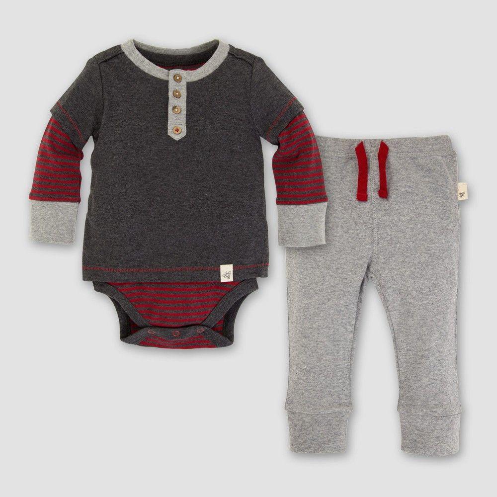 73ffd9485 Baby Boys' Organic Henley 2fer Bodysuit and Pants Set - Burt's Bees Baby  Coal Heather 24M, Black