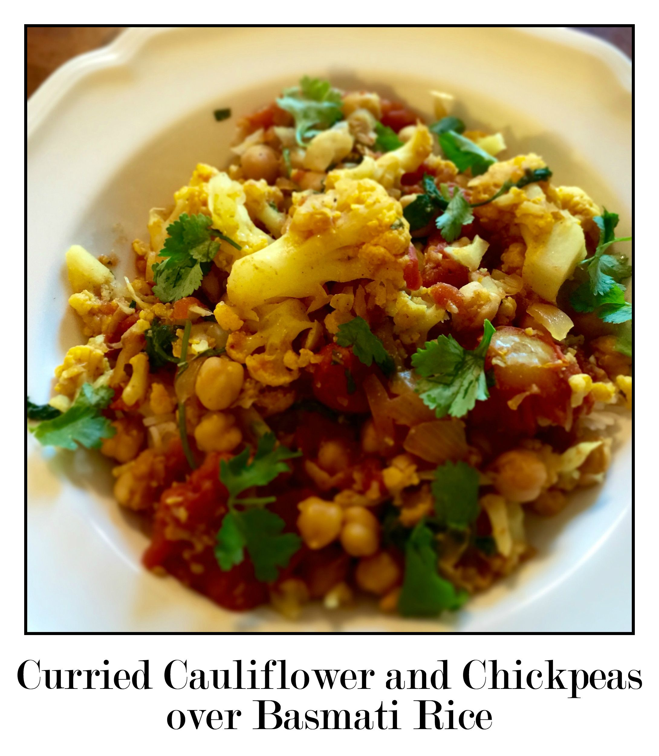 Curried Onion And Cauliflower Hummus Recipe: Curried Cauliflower And Chickpeas Over Basmati Rice