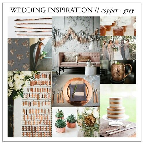 Grey and copper wedding color