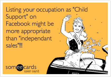 Listing Your Occupation As Child Support On Facebook Might Be More Appropriate Than Independant Sales Ecards Funny Funny Quotes Humor