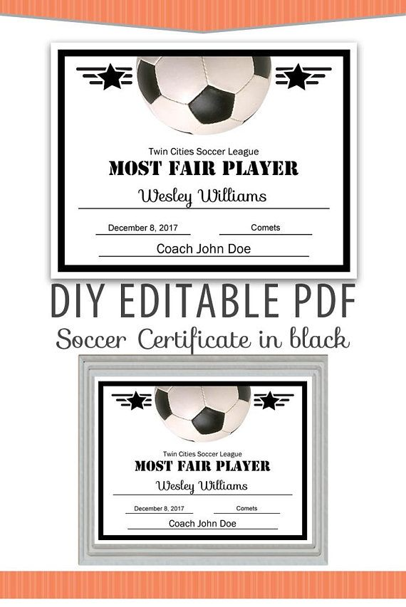 Editable PDF Sports Team Soccer Certificate diy Award Template in