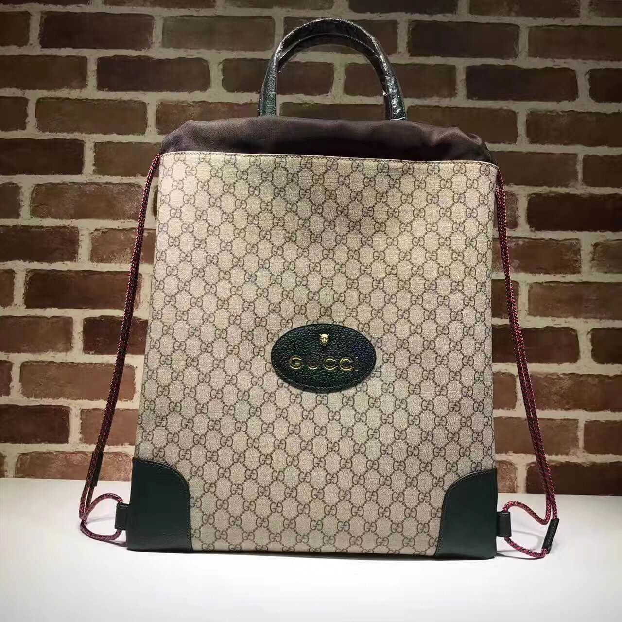 16c450182cfd Gucci 473872 GG Supreme Drawstring Backpack Green 2017  Guccihandbags