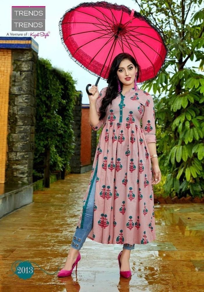 Jaipuri Ethnic Long Dress Printed Kurta Bollywood Pakistani Pure Cotton Kurti